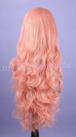Cosplay Wig pink curly with bangs 80cm | V35 Dusty Pink