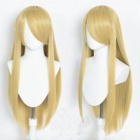 Cosplay wig / blond / straight / with bangs | Gold &...